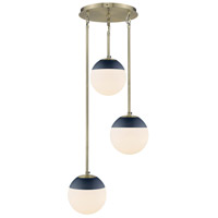 Golden Lighting 3218-3P-AB-MNVY Dixon 3 Light 13 inch Aged Brass Pendant Ceiling Light