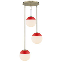 Golden Lighting 3218-3P-AB-RED Dixon 3 Light 13 inch Aged Brass Pendant Ceiling Light