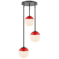 Golden Lighting 3218-3P-BLK-RED Dixon 3 Light 13 inch Matte Black Pendant Ceiling Light