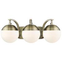 Golden Lighting 3218-BA3-AB-AB Dixon AB 3 Light 21 inch Aged Brass Bath Fixture Wall Light in Opal Glass
