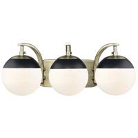 Golden Lighting 3218-BA3-AB-BLK Dixon AB 3 Light 21 inch Aged Brass Bath Fixture Wall Light in Opal Glass Black