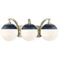 Golden Lighting 3218-BA3-AB-MNVY Dixon AB 3 Light 21 inch Aged Brass Bath Fixture Wall Light in Opal Glass Matte Navy