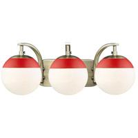 Golden Lighting 3218-BA3-AB-RED Dixon AB 3 Light 21 inch Aged Brass Bath Fixture Wall Light in Opal Glass Red