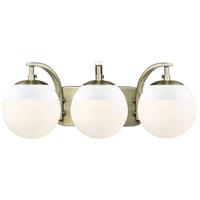 Golden Lighting 3218-BA3-AB-WHT Dixon 3 Light 21 inch Aged Brass Bath Fixture Wall Light