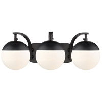 Golden Lighting 3218-BA3-BLK-BLK Dixon 3 Light 21 inch Black Bath Fixture Wall Light