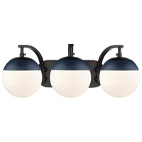 Golden Lighting 3218-BA3-BLK-MNVY Dixon 3 Light 21 inch Black Bath Fixture Wall Light