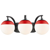 Golden Lighting 3218-BA3-BLK-RED Dixon 3 Light 21 inch Black Bath Fixture Wall Light alternative photo thumbnail