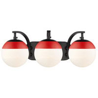 Golden Lighting 3218-BA3-BLK-RED Dixon 3 Light 21 inch Black Bath Fixture Wall Light