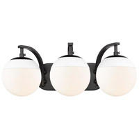 Golden Lighting 3218-BA3-BLK-WHT Dixon 3 Light 21 inch Black Bath Fixture Wall Light