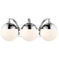 Golden Lighting 3218-BA3-CH-CH Dixon 3 Light 21 inch Chrome Bath Fixture Wall Light photo thumbnail