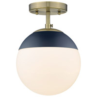 Golden Lighting 3218-SF-AB-MNVY Dixon 1 Light 8 inch Aged Brass Semi-Flushmount Ceiling Light alternative photo thumbnail