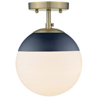 Golden Lighting 3218-SF-AB-MNVY Dixon 1 Light 8 inch Aged Brass Semi-Flushmount Ceiling Light