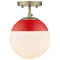 Golden Lighting 3218-SF-AB-RED Dixon 1 Light 8 inch Aged Brass Semi-Flushmount Ceiling Light