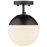 Golden Lighting 3218-SF-BLK-BLK Dixon 1 Light 8 inch Matte Black Semi-Flushmount Ceiling Light