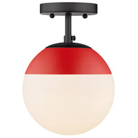Golden Lighting 3218-SF-BLK-RED Dixon 1 Light 8 inch Matte Black Semi-Flushmount Ceiling Light