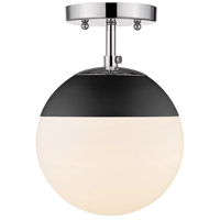 Golden Lighting 3218-SF-CH-BLK Dixon 1 Light 8 inch Chrome Semi-Flushmount Ceiling Light