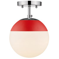 Golden Lighting 3218-SF-CH-RED Dixon 1 Light 8 inch Chrome Semi-Flushmount Ceiling Light