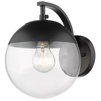 Golden Lighting 3219-1W-BLK-BLK Dixon 1 Light 8 inch Black Wall Sconce Wall Light in Clear Glass