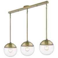 Golden Lighting 3219-3LP-AB-AB Dixon 3 Light 29 inch Aged Brass Linear Pendant Ceiling Light