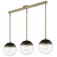 Golden Lighting 3219-3LP-AB-BLK Dixon 3 Light 29 inch Aged Brass Linear Pendant Ceiling Light