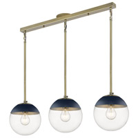 Golden Lighting 3219-3LP-AB-MNVY Dixon 3 Light 29 inch Aged Brass Linear Pendant Ceiling Light