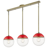 Golden Lighting 3219-3LP-AB-RED Dixon 3 Light 29 inch Aged Brass Linear Pendant Ceiling Light
