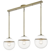 Golden Lighting 3219-3LP-AB-WHT Dixon 3 Light 29 inch Aged Brass Linear Pendant Ceiling Light