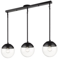 Golden Lighting 3219-3LP-BLK-BLK Dixon 3 Light 29 inch Matte Black Linear Pendant Ceiling Light