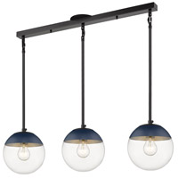 Golden Lighting 3219-3LP-BLK-MNVY Dixon 3 Light 29 inch Matte Black Linear Pendant Ceiling Light