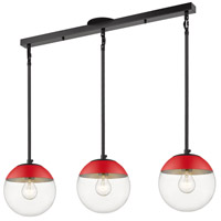 Golden Lighting 3219-3LP-BLK-RED Dixon 3 Light 29 inch Matte Black Linear Pendant Ceiling Light