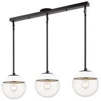 Golden Lighting 3219-3LP-BLK-WHT Dixon 3 Light 29 inch Matte Black Linear Pendant Ceiling Light