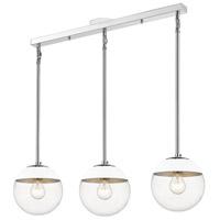 Golden Lighting 3219-3LP-CH-WHT Dixon 3 Light 29 inch Chrome Linear Pendant Ceiling Light