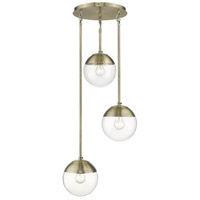 Golden Lighting 3219-3P-AB-AB Dixon 3 Light 13 inch Aged Brass Pendant Ceiling Light
