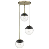 Golden Lighting 3219-3P-AB-BLK Dixon 3 Light 13 inch Aged Brass Pendant Ceiling Light