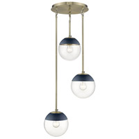 Golden Lighting 3219-3P-AB-MNVY Dixon 3 Light 13 inch Aged Brass Pendant Ceiling Light