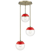 Golden Lighting 3219-3P-AB-RED Dixon 3 Light 13 inch Aged Brass Pendant Ceiling Light