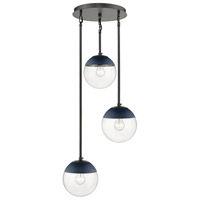 Golden Lighting 3219-3P-BLK-MNVY Dixon 3 Light 13 inch Matte Black Pendant Ceiling Light