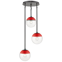 Golden Lighting 3219-3P-BLK-RED Dixon 3 Light 13 inch Matte Black Pendant Ceiling Light