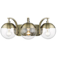 Golden Lighting 3219-BA3-AB-AB Dixon 3 Light 21 inch Aged Brass Bath Fixture Wall Light