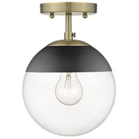 Golden Lighting 3219-SF-AB-BLK Dixon 1 Light 8 inch Aged Brass Semi-Flushmount Ceiling Light