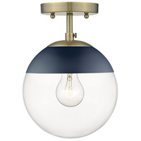 Golden Lighting 3219-SF-AB-MNVY Dixon 1 Light 8 inch Aged Brass Semi-Flushmount Ceiling Light