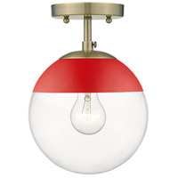 Golden Lighting 3219-SF-AB-RED Dixon 1 Light 8 inch Aged Brass Semi-Flushmount Ceiling Light