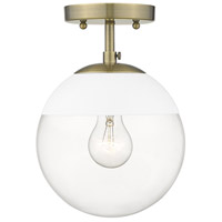 Golden Lighting 3219-SF-AB-WHT Dixon 1 Light 8 inch Aged Brass Semi-Flushmount Ceiling Light