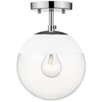 Golden Lighting 3219-SF-CH-WHT Dixon 1 Light 8 inch Chrome Semi-Flushmount Ceiling Light