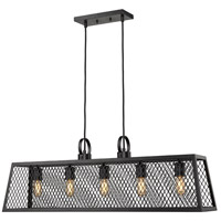 Abbott 5 Light 38 inch Black Linear Pendant Ceiling Light