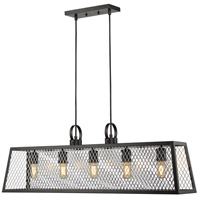 Golden Lighting 3239-LP-BLK-CH Abbott 5 Light 38 inch Black Linear Pendant Ceiling Light in Chrome