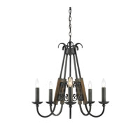 Golden Lighting Moreno 5 Light Chandelier in Black Iron 3281-5-BI