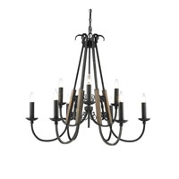 Golden Lighting Moreno 9 Light Chandelier in Black Iron 3281-9-BI