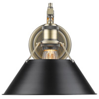 Orwell 1 Light 10 inch Aged Brass Wall Sconce Wall Light in Black
