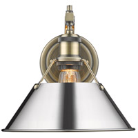 Golden Lighting 3306-1W AB-CH Orwell 1 Light 10 inch Aged Brass Wall Sconce Wall Light in Chrome Damp